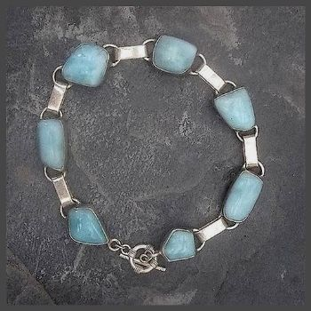 Delightful 7 Stone Sterling Silver Larimar Bracelet